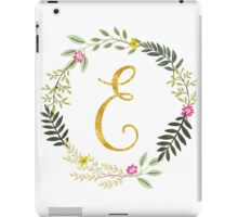Floral and Gold Initial Monogram E iPad Case/Skin