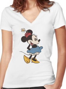 Minnie Retro Women's Fitted V-Neck T-Shirt