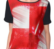 Red String Abstract  Chiffon Top