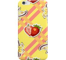 Striped Background Strawberry Vanilla iPhone Case/Skin