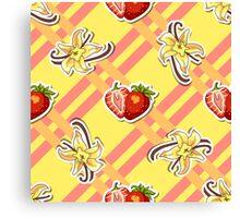 Striped Background Strawberry Vanilla Canvas Print