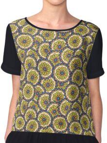 green doodle flower pattern Chiffon Top