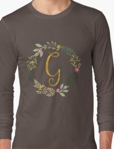 Floral and Gold Initial Monogram G Long Sleeve T-Shirt