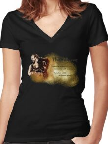 """Eorzexit - Thanaleave """"Thanalan could do better alone!"""" Women's Fitted V-Neck T-Shirt"""