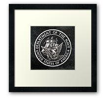 Department Of The Navy Emblem Polished Granite Framed Print