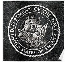 Department Of The Navy Emblem Polished Granite Poster
