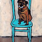Fergus On A Blue Chair by AnnaBaria