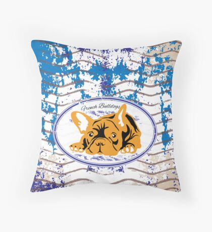Frenchie stamped  Throw Pillow