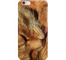 Ginger cat licking fur iPhone Case/Skin