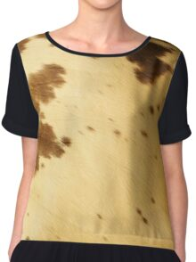 Rustic Country Western Cream Brown Long Horn Cowhide Pattern Chiffon Top