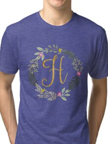 Floral and Gold Initial Monogram H Tri-blend T-Shirt