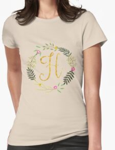 Floral and Gold Initial Monogram H Womens Fitted T-Shirt