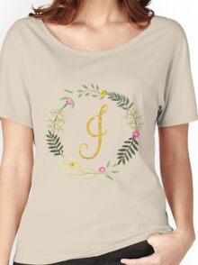 Floral and Gold Initial Monogram I Women's Relaxed Fit T-Shirt