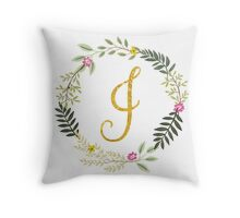 Floral and Gold Initial Monogram I Throw Pillow