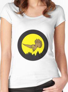 Hunt night owl bird Women's Fitted Scoop T-Shirt