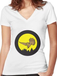 Hunt night owl bird Women's Fitted V-Neck T-Shirt