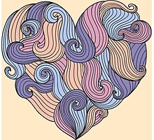 Cute colorful doodle heart Photographic Print
