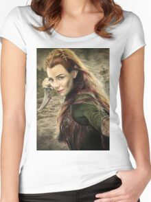 Tauriel Portrait- The Hobbit, Desolation of Smaug Women's Fitted Scoop T-Shirt
