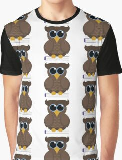 Owl Sitting on a Book Graphic T-Shirt