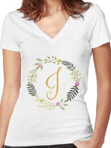 Floral and Gold Initial Monogram J Women's Fitted V-Neck T-Shirt