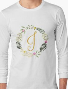 Floral and Gold Initial Monogram J Long Sleeve T-Shirt