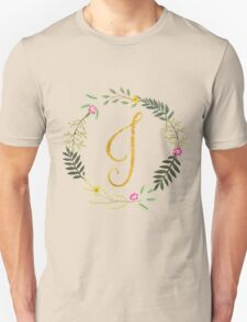 Floral and Gold Initial Monogram J Unisex T-Shirt