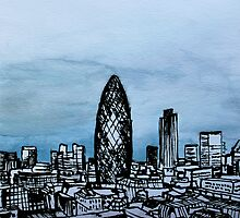Drawing of London with Chinese Ink and Watercolor by MyCityArt