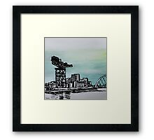Drawing of Glasgow with Chinese Ink and Watercolor Framed Print