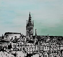 Drawing of Glasgow with Chinese Ink and Watercolor by MyCityArt