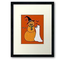 Pumpkin Snowman Framed Print