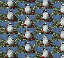 Christmas Sparrow in Snow, Color Pencil Art, Bird by Joyce Geleynse