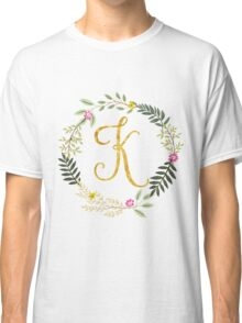 Floral and Gold Initial Monogram K Classic T-Shirt