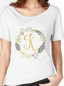 Floral and Gold Initial Monogram K Women's Relaxed Fit T-Shirt