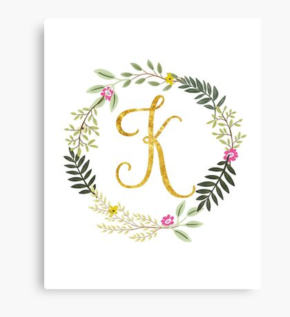 Floral and Gold Initial Monogram K Canvas Print