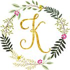 Floral and Gold Initial Monogram K by Chiccountry
