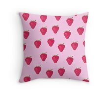 strawberries on a pink background Throw Pillow