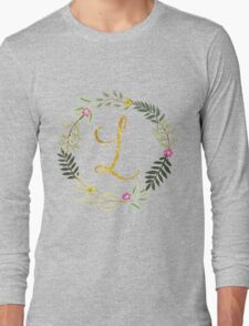Floral and Gold Initial Monogram L Long Sleeve T-Shirt