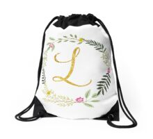 Floral and Gold Initial Monogram L Drawstring Bag