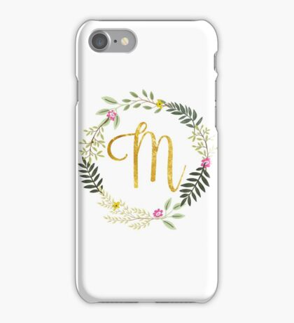 Floral and Gold Initial Monogram M iPhone Case/Skin