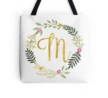 Floral and Gold Initial Monogram M Tote Bag