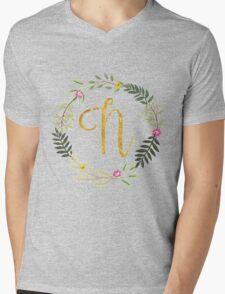 Floral and Gold Initial Monogram N Mens V-Neck T-Shirt