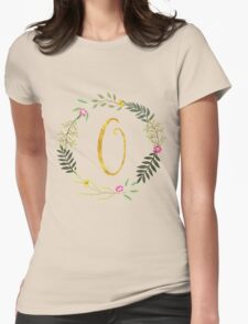 Floral and Gold Initial Monogram O Womens Fitted T-Shirt