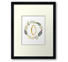 Floral and Gold Initial Monogram O Framed Print