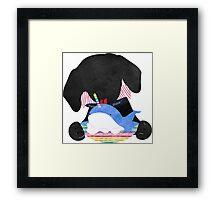 Preppy Black Lab Dog Licking Ice Cream Whale Framed Print