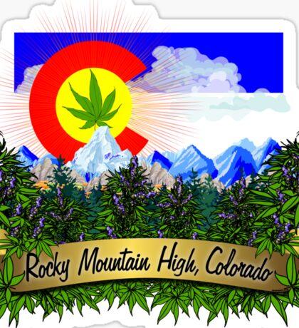Rocky Mountain High Colorado Flag Cannabis Marijuana Herb Sticker