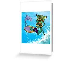 Tiki Surfer Greeting Card