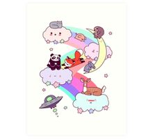 Rainbow Clouds and Animals Art Print