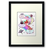 Rainbow Clouds and Animals Framed Print