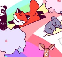 Rainbow Clouds and Animals Sticker