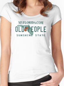 Florida License Plate Design - Florida Old People Women's Fitted Scoop T-Shirt